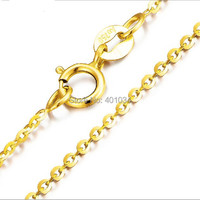 18ct Желтый Золотая цепочка ожерелье, 18 К 1 мм круглый кабель цепи с пружинным зажимом, золотой Bijoux украшения для женщин 2015 модный строка