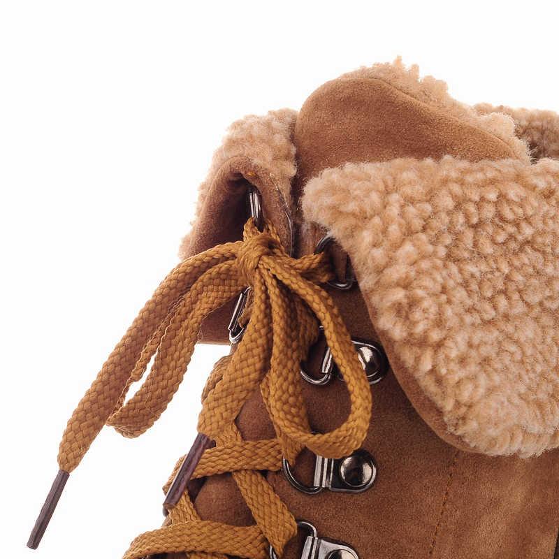 ASUMER yeni moda kalın yüksek topuklu sıcak kar botları lace up kürk kadın yarım çizmeler platform ayakkabılar kadın