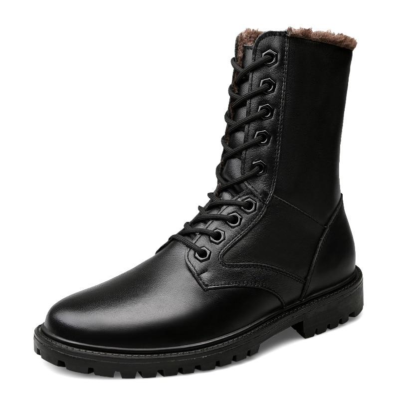 Waterproof Winter Warm Snow Boots Men Cow Split Leather Men s boots Motorcycle Ankle Fashion Men