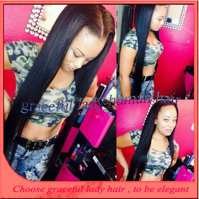 Fashion Style Sew In Hair U Part Wig Long Black Silky Straight Top
