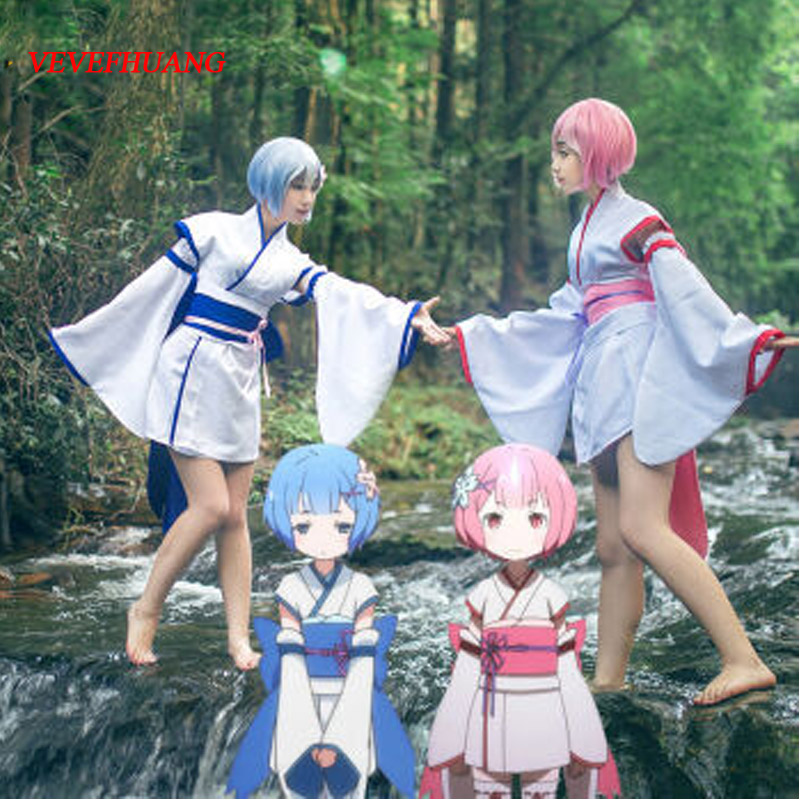 VEVEFHUANG Re: Zero kara Hajimeru Isekai Seikatsu Ram Rem Twins Childhood Kimono Dress Women Girls Halloween Cosplay Costumes