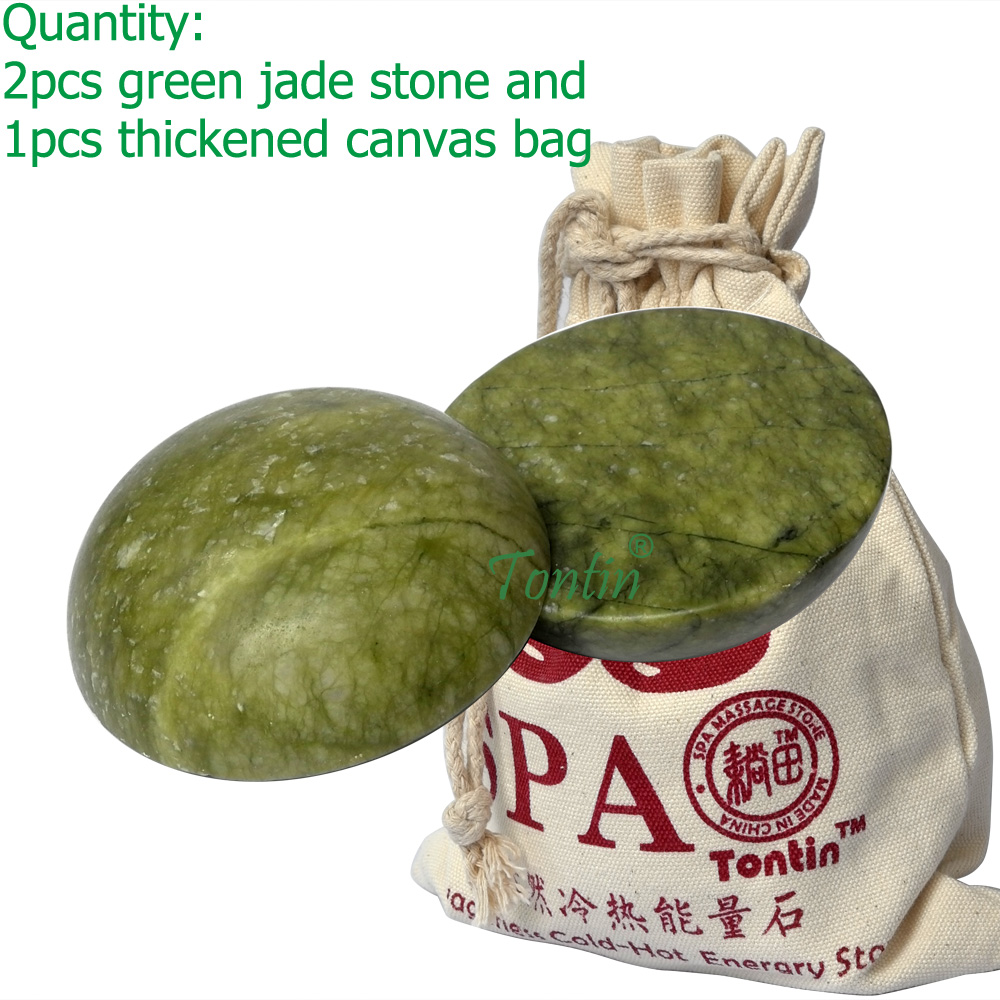 new 2pcs/set hemispherical green jade body massage hot stone SPA set gift thickened canvas bag двигатель постоянного тока dowonsol 20 dc5 12v 9253