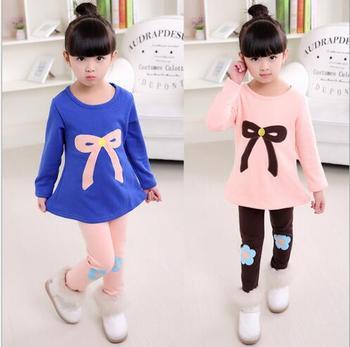 0753b847053ce Yeni 2018 Kış Çocuk Giyim Takım Elbise Kız Giyim Seti Çocuk spor giyim seti  Kız günlük giysi 3-10Y