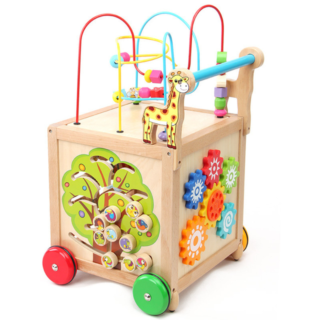 Free Shipping Baby Toy Sit To Stand Learning Walker Wooden Toys Cube