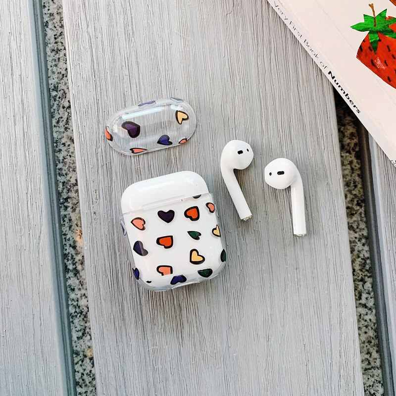ワイヤレス Bluetooth ヘッドフォンのための Airpods 2 ケースかわいい愛透明ハードイヤホンカバー用ポッド Accessoires Coque