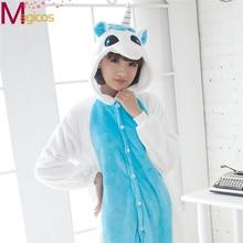 Adultos Animal Lindo de la Historieta Onesies Pink/Blue Unicorn Pijamas Pijamas Cosplay Traje Del Partido ropa de Dormir ropa de Hogar para Hombres Mujeres