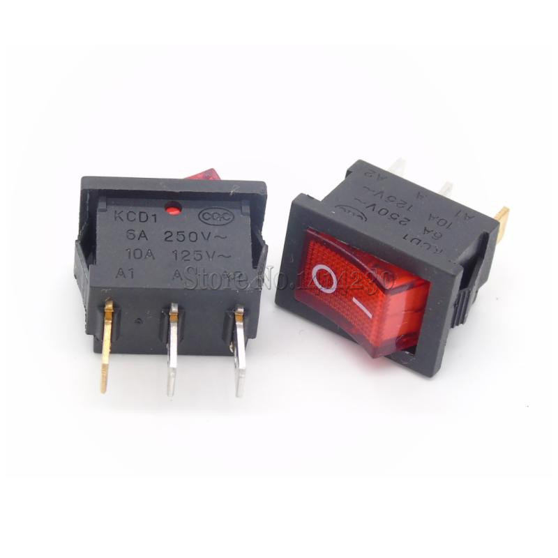 10PCS Ship Type Switch 15*21mm 3PIN ON/OFF Boat Rocker Switch 6A/250V 10A/125V 15X21 With Red Light 4pcs lot 20mm 3pin on off on g115 round boat rocker switch 6a 250v 10a 125v car dash dashboard truck rv atv home