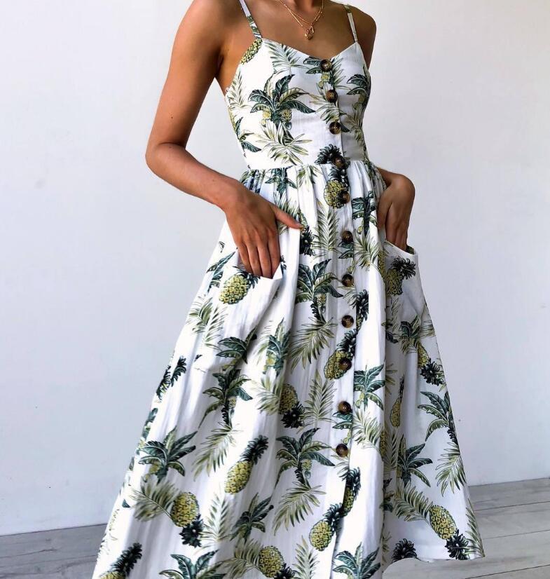 3XL Summer 2018 Strap Print Floral Dot Long Beach Dress Women Sundress Sexy Loose Elegant Vintage Button Pockets Ladies Dress