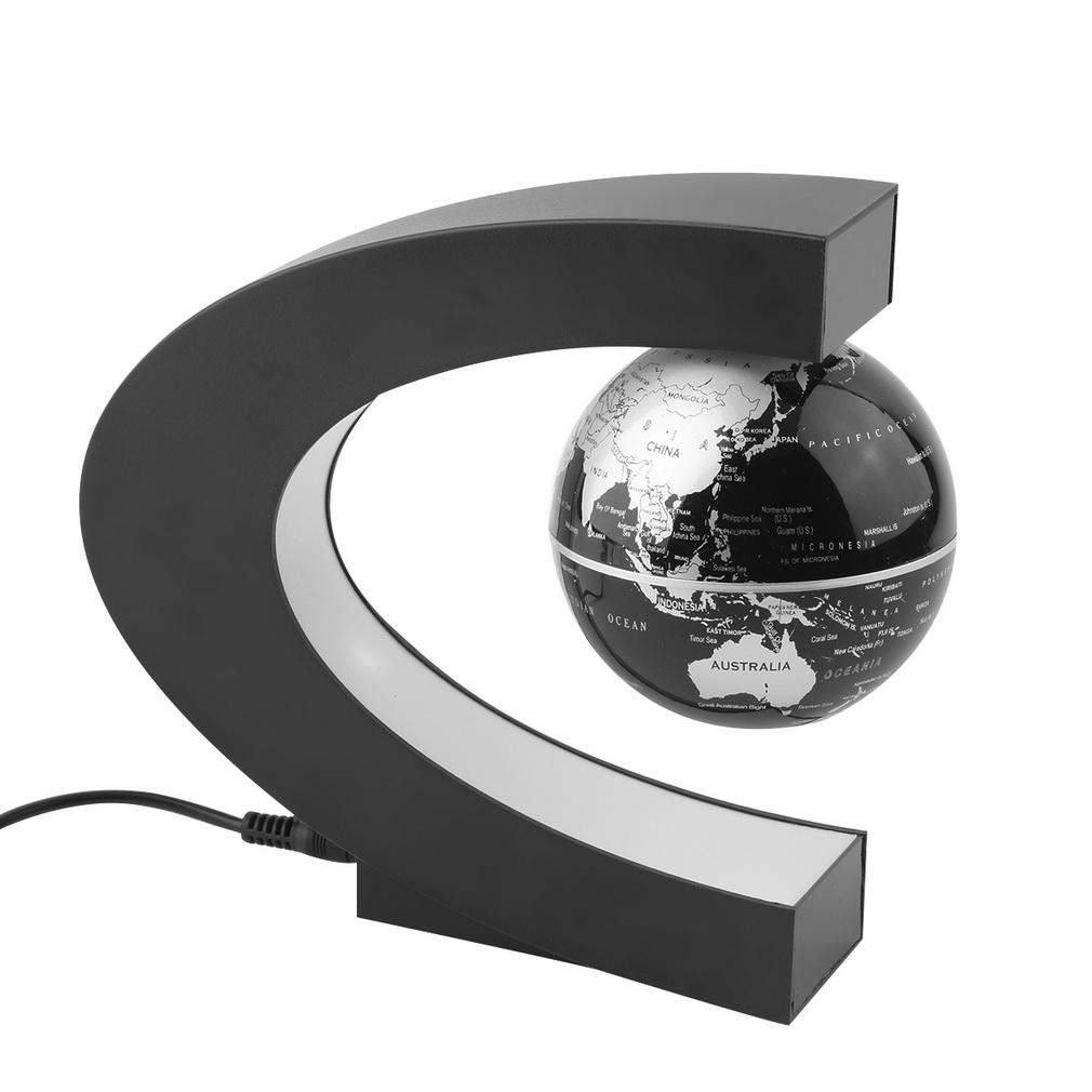 ICOCO New Home Decoration LED Floating Tellurion C Shape Magnetic Levitation Floating Globe World Map With LED Light US Plug