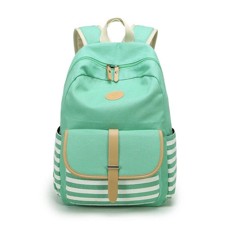 Canvas Backpack Striped Women Bagpack Teenagers Backpacks For Teenage Teen Girls Youth Feminine Backpack Girl Mochila