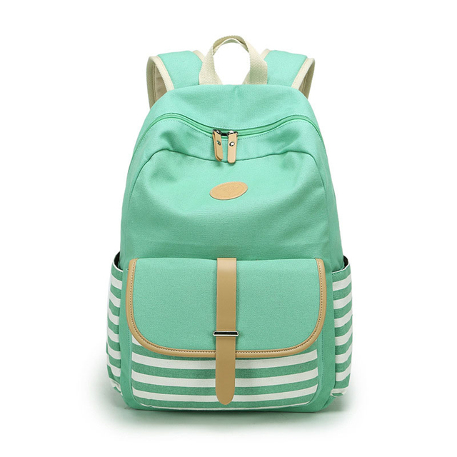 Canvas Backpack Striped Women Bagpack Teenagers Backpacks For ...