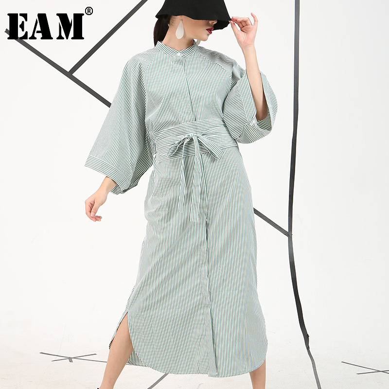 [EAM] 2019 Autumn Winter New Fashion Loose Big Size Striped Tie Botton Half Sleeve Dress With Pockets Women 3 Colors AS11565