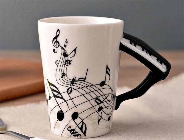 Music Piano Notes Mug Ceramic Tea Mug Coffee Mugs Musical Items Drinkware Piano Mugs Great Gift