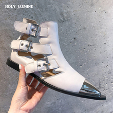2019 spring autumn New black genuine leather Punk boots woman metal head flat sandals women pointed toe buckle strap rivet boots moraima snc spring autumn fashion women riding boots over the knee flat with fringe strap buckle decoration round toe long boots