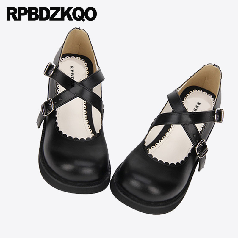 Designer Black Round Toe Sweet Discount Kawaii Cute Japanese 2018 Medium Heels Thick Platform Lolita Shoes Cross Strap Women japanese gothic lolita cosplay ankle t strap shoes medium platform heel round toe girls shoes with wing red black