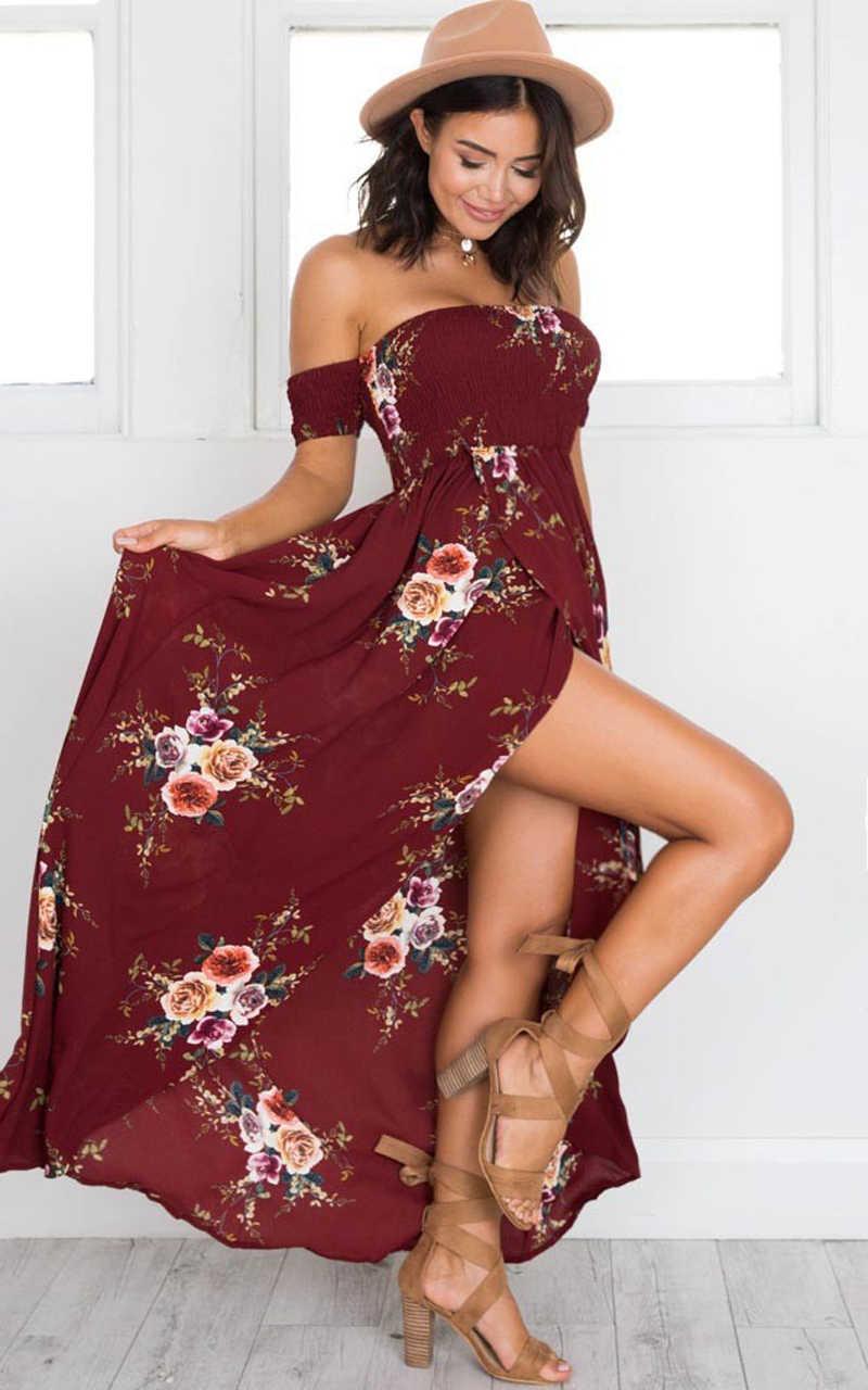 W stylu Boho długa sukienka kobiety Off ramię plaża letnie sukienki kwiatowy nadruk w stylu Vintage szyfonu biała sukienka maxi Vestidos De Festa