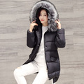 2016 Winter New Arrive Fashion Over Size Women Down Cotton Coat Fake Fur Collar Waterproof Thick Warm Collar Hooded Outwear