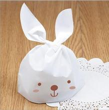 Free Shipping 100pcs/lot Cute Easter Bunny Cook Bags Handle Bags For Biscuits Snack Candy Box Baking Package Wedding Favor Boxes