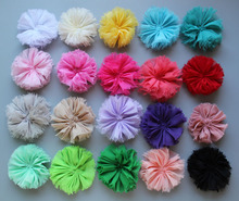 120ps/lot flat back chiffon chic shabby diy flowers  baby hair flower for headband