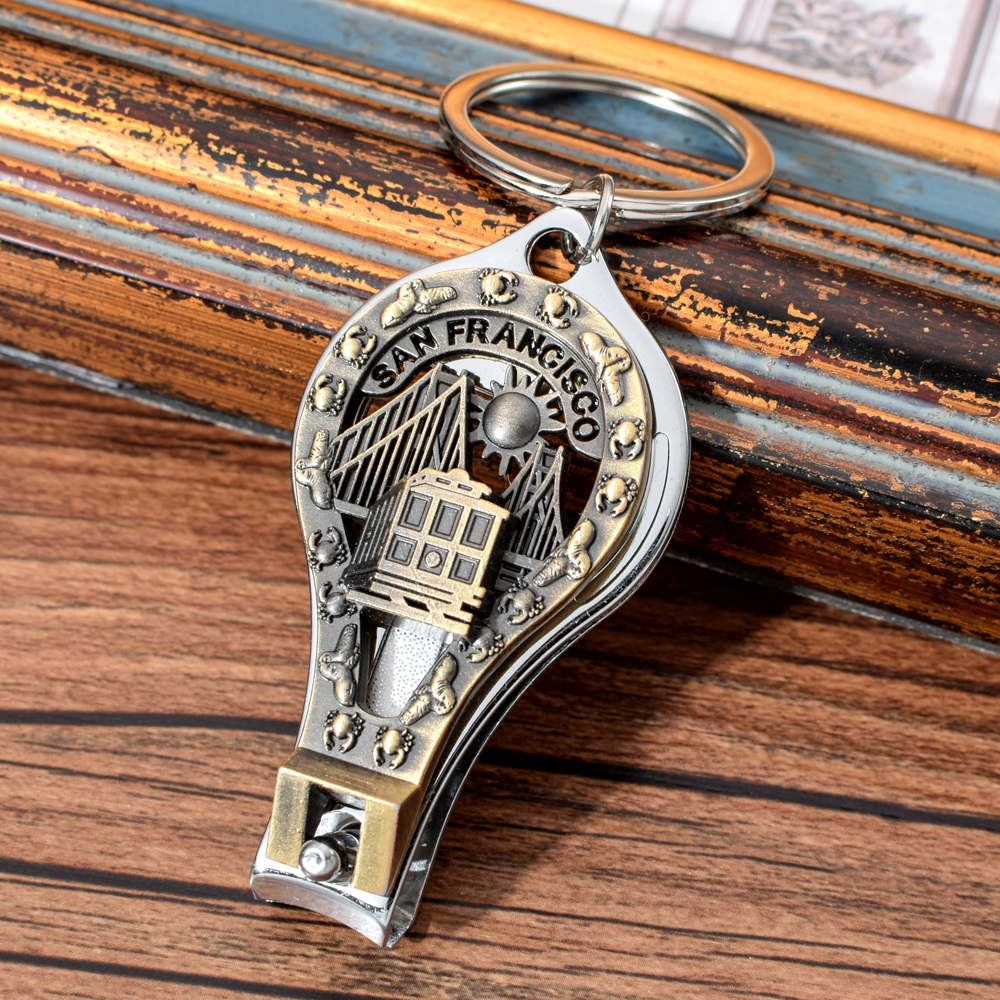 Vicney San Francisco Keychain America Country City Silhouette Nail Clipper Key Chain Ring Cutter Tool Bottle Opener Keyring