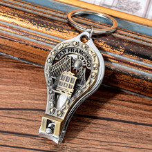 Vicney San Francisco Keychain America Country City Silhouette Nail Clipper Key Chain Ring Cutter Tool Bottle Opener Keyring(China)