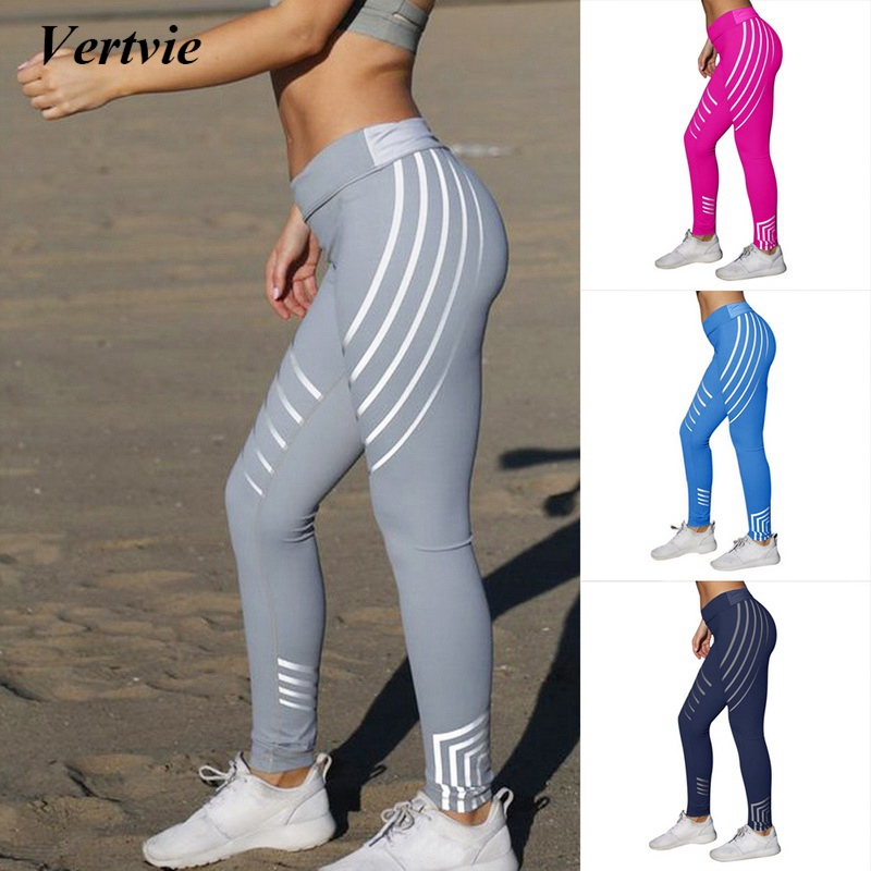 Vertvie Sport Leggings For Women Fitness Yoga Striped Pants Summer Slim High Waist Running Jogger Pants Elastic Gym Sport Leggin drawstring spliced camo jogger pants
