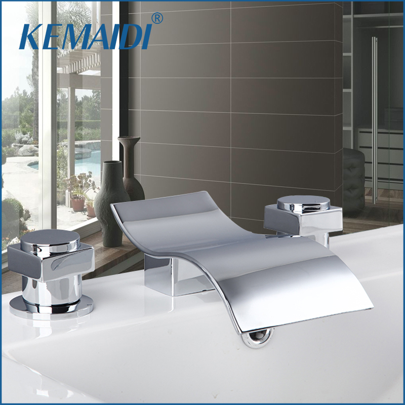 KEMAIDI Washbasin Faucet 3 pieces Set Basin Mixer Full Brass Fashion Bathroom Faucet Hot And Cold Water Tap Deck Mounted led waterfall bathroom basin faucet deck mounted washbasin bathroom tap 5 pcs set flush cold and hot water mixer taps
