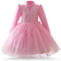 Girl 4 12 Year Autumn Winter New Style Long Sleeve Dress Girl Chinese Style Cheongsam Children