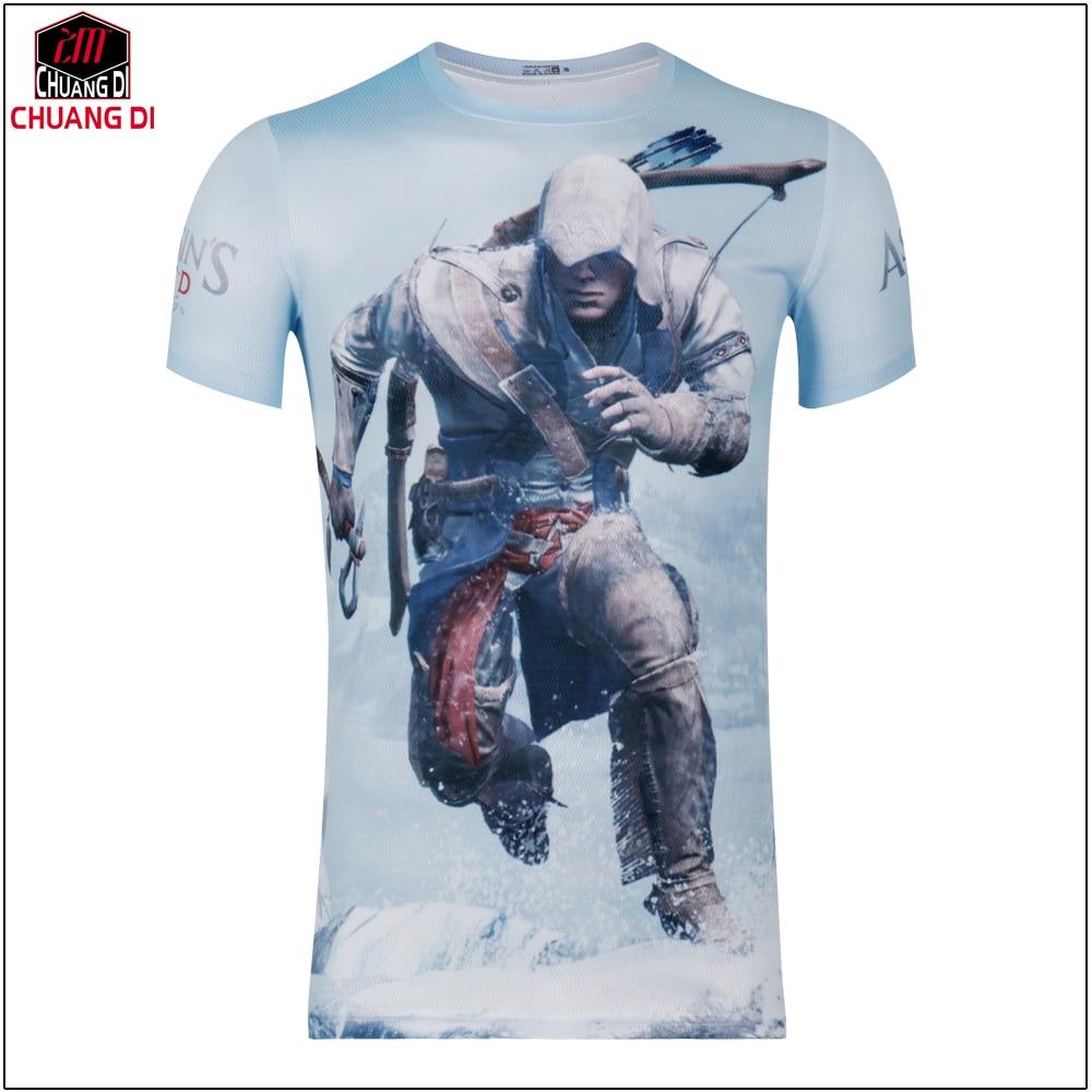 Design t shirt games online - Hot New 2017 Summer Fashion T Shirts Men Short Sleeve Game Tees Assassins Creed 3d Printing T Shirt Design Online Free Shipping