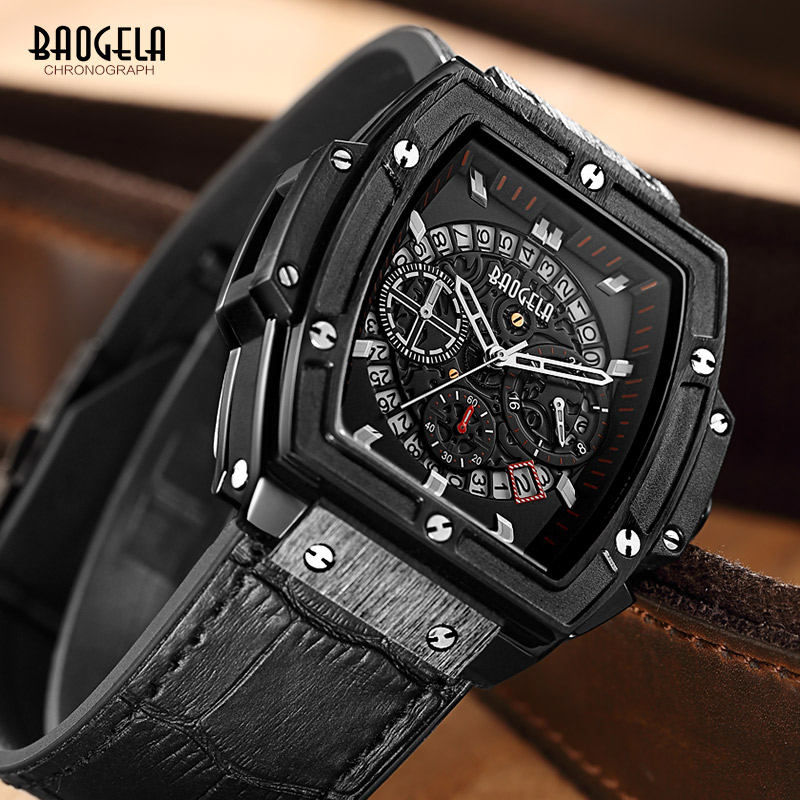 Baogela Mens Chronograph Luminous Hands Calendar Date Quartz Wrist Watches Black Leather Strap Rectangle Dial Watch for Man pattous mens sports watch black genuine leather chronograph dial date sport quartz watches miyota quartz wrist watch gift box