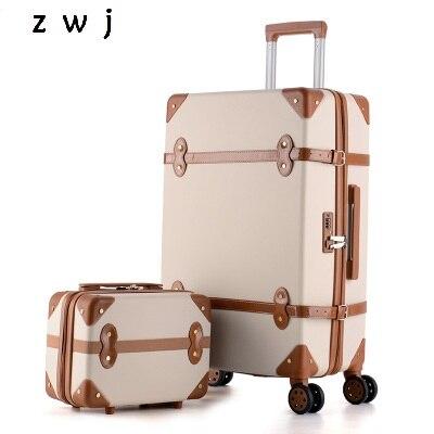 Ensemble de bagages à roulettes rétro de 20 pouces ensemble de valises à roulettes avec sacs à main de voyage bagages à main