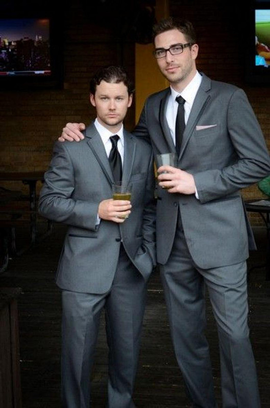 Custom Made Groom Tuxedos Dark gray Man Suits For Wedding Trim Fit ...