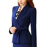New business women clothes OL winter elegant bow long sleeve blazer formal uniforms office ladies plus size work wear jacket