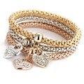Caxybb 3 Unidades/conjunto de Oro/Plata/Oro Rosa amor Colgante de Diamantes de Imitación Metal de la Forma del Maíz Elasticidad Brazaletes Braclet Mujeres