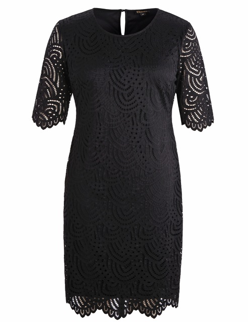 d9a0ca00db5 Chicwe Women s Stretch Lined Plus Size Lace Shift Dress with Scalloped Hem  and Cuff Large Size Big Size 1X-4X