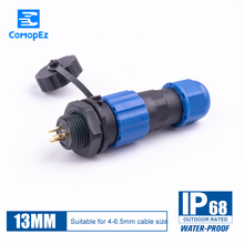 IP68 Cable Connector SP13 Waterproof Connectors Plug Socket Male  Female 1 2 3 4 5 6 7 Pin SD13 13mm Straight Back Nut стоимость
