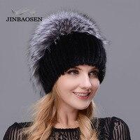 2018 Russian fur Woman winter fashion real fur hat mink fur rabbit natural fox knit wool ski hat warm ear protection travel hat