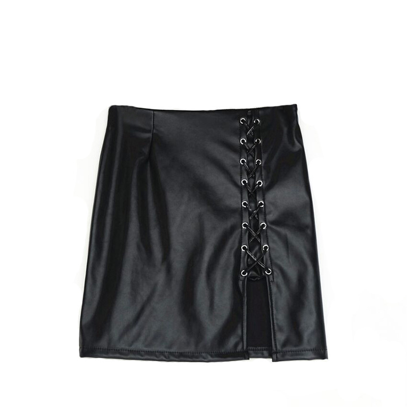New 2018 summer Women skirt Lady Fashion Casual Sexy Lace Up Solid Color PU Leather short Mini Skirt