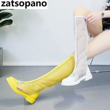 New Fashion Candy colors Women Knee High Boots Square heel Zipper Sexy Mesh Boots Summer Cool Boots Breathable Women's Shoes new fashion boots summer cool