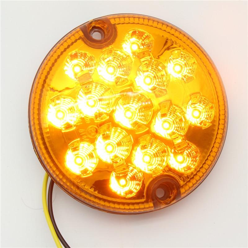 2 db 12V / 24V-os univerzális 95 mm-es LED hátsó irányba fordított utánfutó lámpa Autók utánfutók lámpái kerek vízálló teherautó fordulólámpa