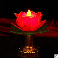 Lótus Vela Eletrônica Budista Lotus Folhas Douradas 11 Cm de Altura Centro De Mesa Decorações De Natal para Casa Decorativo
