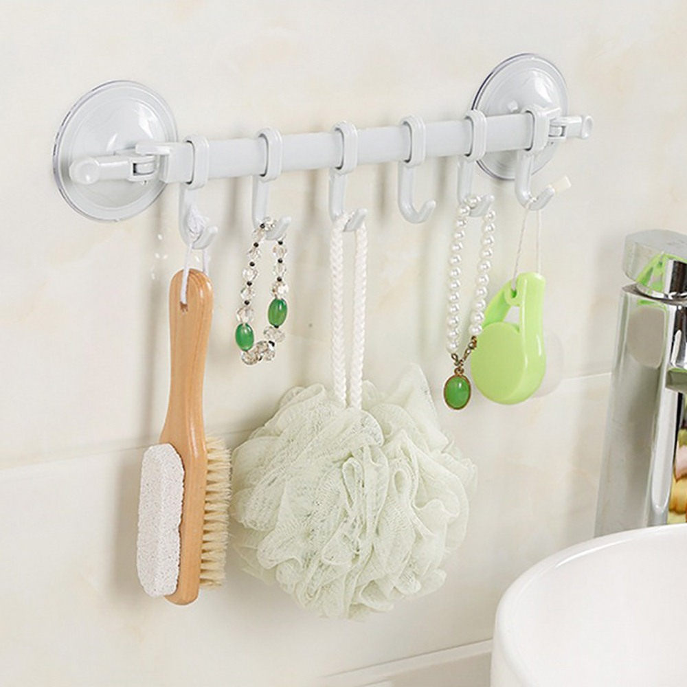 6 Movable Hook Wall-mounted Multi-purpose Towel Rack Kitchen Rack Hook Strong Suction Cup Bathroom Kitchen Hook Tools
