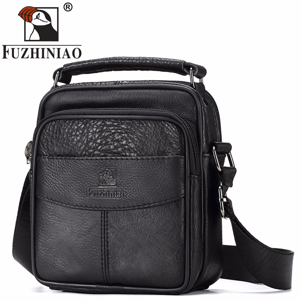 FUZHINIAO Small Men Messenger Bag Luxury Genuine Leather Brand Zipper Designer High Quality Shoulder Casual Office Bag For Male