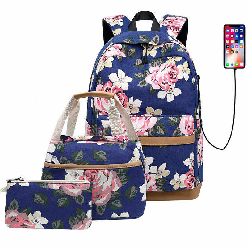 3 Pcs/Set Women Backpacks Female Casual Travel bag School Bags for Teenagers Shoulder Bags Blue High Quality Daypack Mochila
