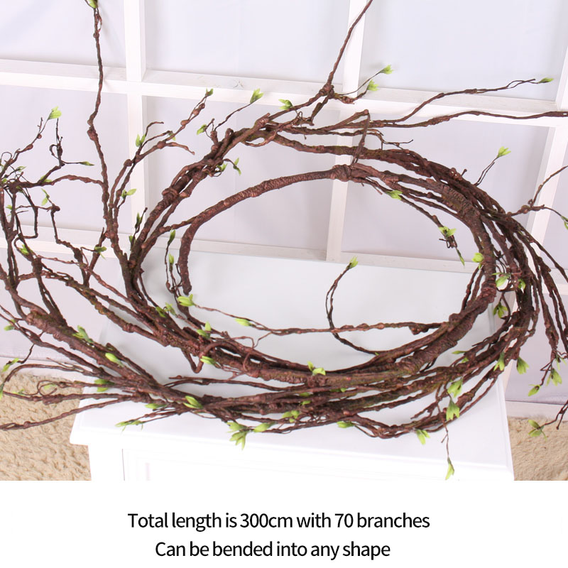 rattan wreath plastic branch real touch fake Tree branches Rattan Kudo Artificial Flower Vine Home Wedding DIY party Decoration