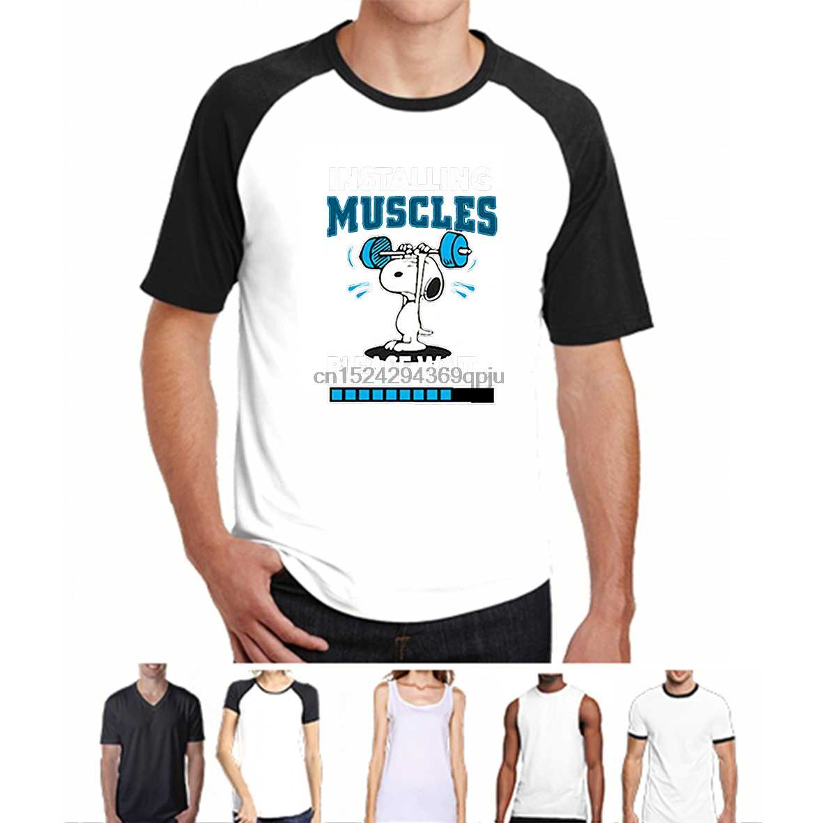 e484641c Men t shirt Installing Muscles Please Wait Snopy Peanuts Workout Training  Gym t-shirt novelty