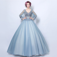 V neck Illusion Princess Quinceanera Dresses Long Sleeves Puffy Ball Gowns Smoke Blue Vestido Quinceanera Debutante Sweet 16