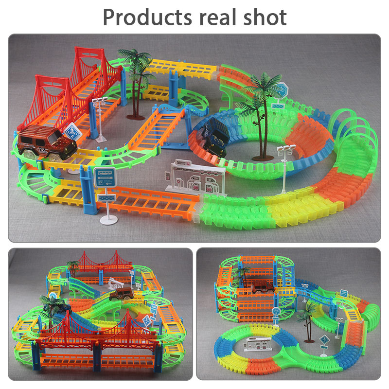 Image 5 - 2019 Railway Magical Racing Track Play Set Educational DIY Bend Flexible Race Track Electronic Flash Light Car Toys For children-in Diecasts & Toy Vehicles from Toys & Hobbies