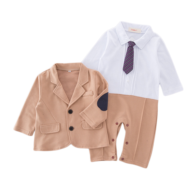 Baby Boys Rompers Jacket Coats 2pcs Set 2017 INS Newborn Baby Gentleman Suit Overalls Sets Cotton Climb Clothes CS16 cotton baby rompers set newborn clothes baby clothing boys girls cartoon jumpsuits long sleeve overalls coveralls autumn winter