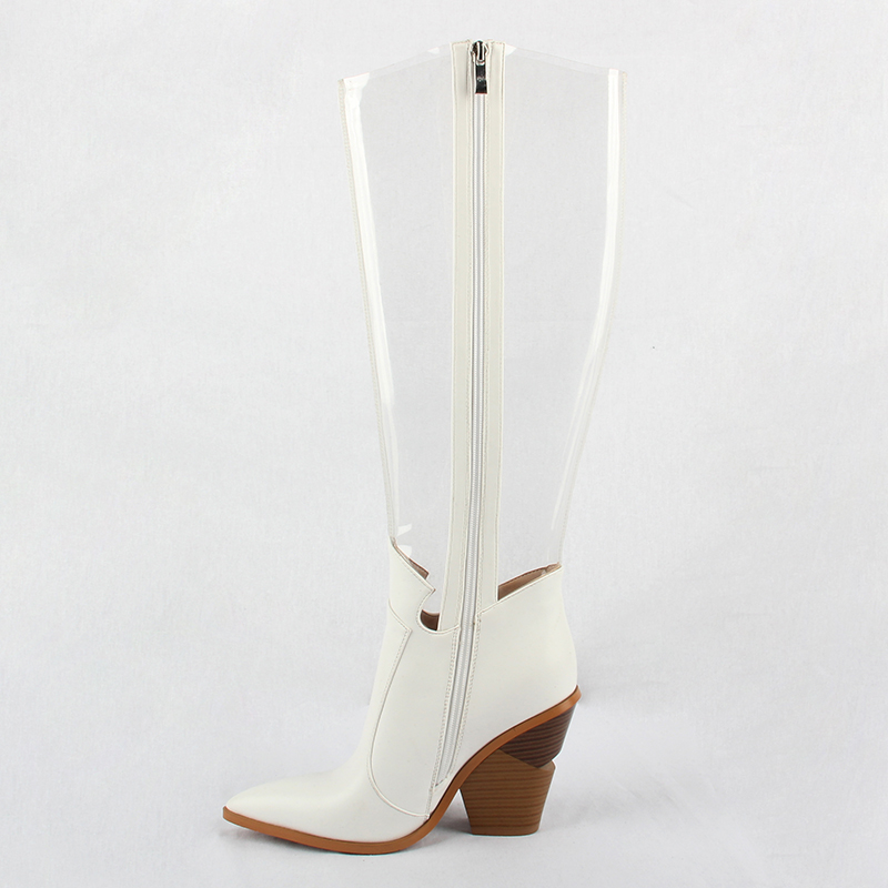 Image 2 - 2019 Autumn New Western Shoes Women PVC Thigh High Boots Clear Pointed Toe Crystal Heel Over Knee Transparent Boots Rain Boots-in Knee-High Boots from Shoes